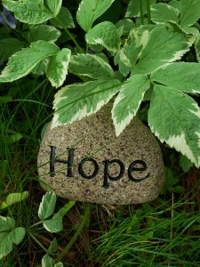 "A rock with the word ""hope"" inscribed"
